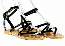 K Jacques for J Crew Leather Epicure Sandals Black Sz 8 (38) $280 Made in France