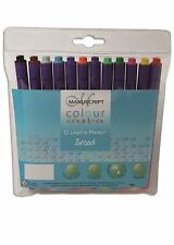 12 MANUSCRIPT BROAD NIB FELT PENS MIXED COLOUR COLOURED HIGH QUALITY FIBRE TIP