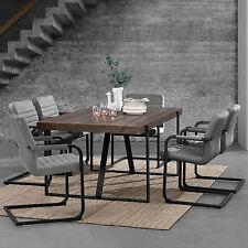 [en.casa] Table de salle à manger Chêne foncé avec 6 Chaises 180x100 gris