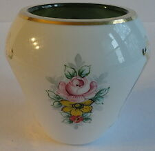 Bohemian Forest Green White Cased Milk Glass Faceted Sm Round Vase Moser Style
