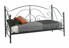 New Milano Metal Day Bed Black With Sprung Slats Base Cheapest On eBay!!