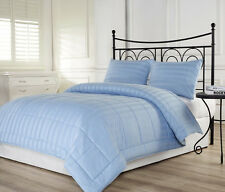 3pcs Dobby Stripe Down Alternative Lightweight Comforter Set Queen, Blue