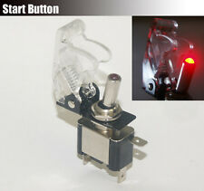 Missile SPST Toggle Ignition Engine Start Starter Button Switch Red Led Clear