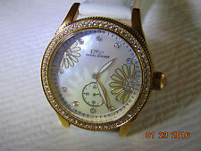 "Daniel Steiger 38mm MOP ""Swarovski Crystal"" High Polished 18K Fused Gold Watch"