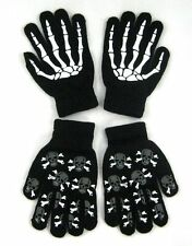 TWO PAIRS Glow In Dark Skully Magic Stretchy Winter Gloves One Size Fits Most