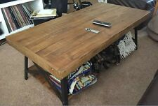 Reclaimed Wood Coffee Table Industrial Style Metal Rustic Furniture Solid Real