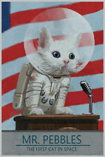 """MR.PEBBLES - The First Cat In Space 36X24"""" Fabric Poster 324"""
