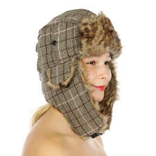 Stylish Plaid Faux Fur Trapper Hat Women's Fall/Winter Pink/Brown