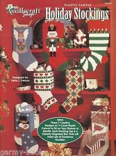 Holiday Stockings Plastic Canvas Patterns Christmas Snowman Angel Quilt TNS NEW