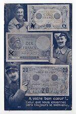 BILLET DE BANQUE ou MONNAIES sur carte postale soldats poilus 3 billets 5 10 20F