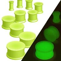 New Glow In The Dark Silicone Ear Flesh Tunnel Expander Plug Green Various Sizes