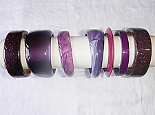 VINTAGE & RETRO LUCITE RESIN PLASTIC PURPLES BANGLE COLLECTION 7 WOW