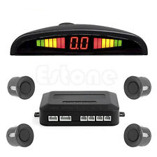 LED Display Car 4 Parking Sensor Reverse Audio Backup Radar Alarm System Gray