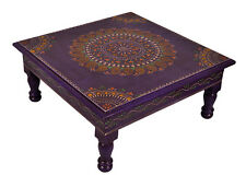 Indian Wooden Side Table Purple Painted Traditional Christmas Low End Table 13""