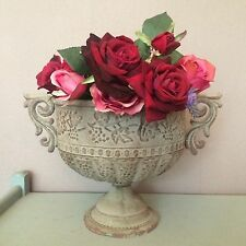 Weathered Metal Urn, Vintage Style Embossed Planter Vase, Shabby Chic
