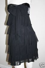 Cache USA Black Soft Cascading  Tiered  Ruffle Bow Strapless Dress  2