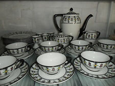 Art Deco Tea Set Rare Black White Floral Petrus Regout Maastricht Holland