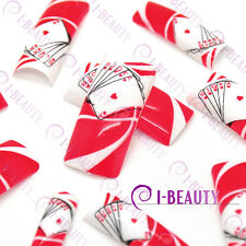 50psc Acrylic False French Nail Art Full Tips  IBN1-0007 Red Base White Poker