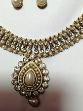 necklace & earrings- Indian style gold and  white - with head piece - -  NEW