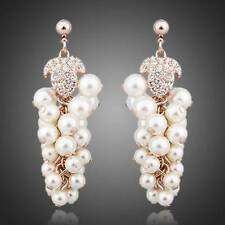 Pearl Grapes 18K Gold Plated Swarovski Element CHAMPAGNE GOLD Drop Earrings