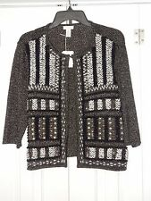 NEW CHICOS 2 3/4 SLEEVE EMBELLISHED GLITTER SWEATER W/ NECK CLASP SZ L