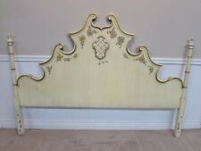 VINTAGE UNION NATIONAL HEADBOARD KING SIZE, PAINT DECORATED, WHITE, FRENCH STYLE