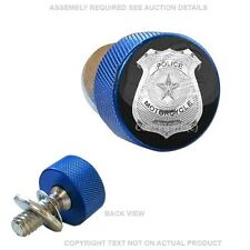 Blue Knurled Billet Fender Seat Bolt For 96-16 Harley - POLICE BADGE S