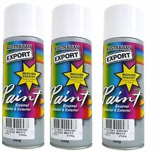 3 x Australian Export Spray Paint Cans 250gm White Gloss 100% Brand New