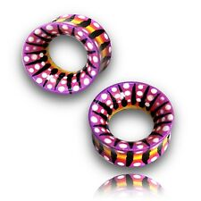 """PAIR OF 1"""" INCH (25MM) HAND PAINTED WOOD PLUGS TUNNELS PLUG TUNNEL TRIBAL"""