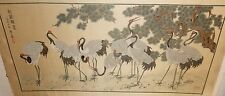 LARGEJAPANESE CRANES BLOSSOMS SILK EMBOSSED EMBROIDERED TAPESTRY PAINTING SIGNED