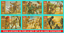 Airfix 1/32 Scale Brown Box Set of 6 Posters Japanese Australian British German