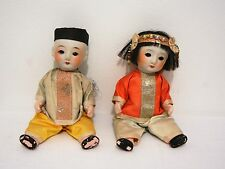 JAPAN CHINESE CHARACTER DOLLS X 2 MOVABLE EYES PORCELAIN SILK CLOTHES SIGNED