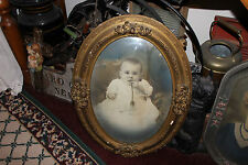 Antique Victorian Baby Photograph W/Victorian Wood Frame-Oval Raised Glass