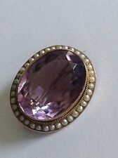 Fine Antique Victorian 9ct Gold Oval Amethyst & Seed Pearl Set Brooch