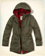 HOLLISTER by Abercrombie Flannel Lined Parka Jacket Coat Outerwear Olive Small