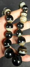 TIBETAN FINE OLD BANDED AGATE BEAD NECKLACE. SOURCED IN KINGDOM OF NEPAL