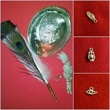 White Sage Smudge Kit 02 Peacock Abalone 3 Silver Charms Smudge Wand Feather