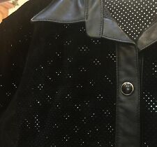 Paolo Santini Black Leather And Perforated Suede Women's Jacket Size 12