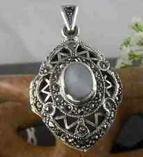 Sterling Silver MARCASITE & MOTHER OF PEARL Art Deco Style LOCKET