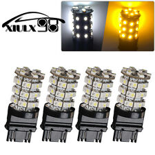 4X High Power 3157 60SMD LED Dual Color White Yellow Turn Signal Light Bulb 4057
