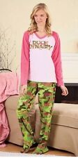 A&E Duck Dynasty Footed Pajamas 2 PC PJ Pink Camo Camouflage Top Pant M LAST ONE