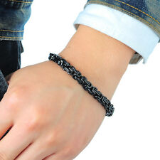 Cool Men Jewelry 316L Stainless Steel Silver Byzantine Chain Bracelet Gothic