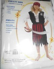 Child Caribbean Pirate Costume Fancy Dress Girls Book Week Age 5 - 7 NEW  6272