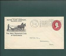 """MONMOUTH,ILLINOIS 1911.  """"PATTEE PLOW CO"""". The New Departure Line of Cultivators"""
