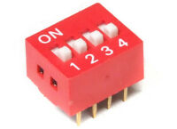 DIP Switch Slide Type 8-Pin 4-Positions Red / 4-fach Kodier-Schalter Rot 2.54mm