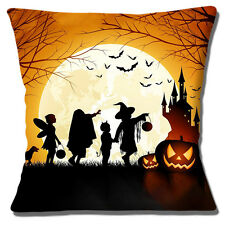 "NEW HALLOWEEN SCENE CHILDREN PUMPKINS CASTLE MOON BATS 16"" Pillow Cushion Cover"