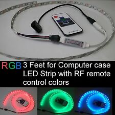 RGB LED strip 3 feet Self-adhesive for PC Computer case with RF remote control