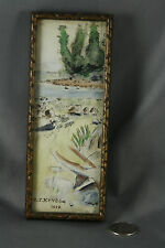 Miniature Ink and Water Color Drawing 1919 Wood Framed 6 3/4 x 2 3/4 inches
