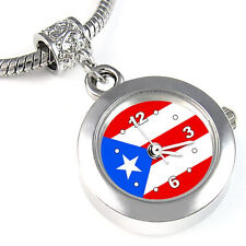 Puerto Rico Flag Silver European Spacer Charm Bead Watch For Bracelet EBA456