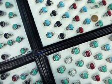 US SELLER-15pcs vintage style jewelry turquoise stone Wholesale Costume rings